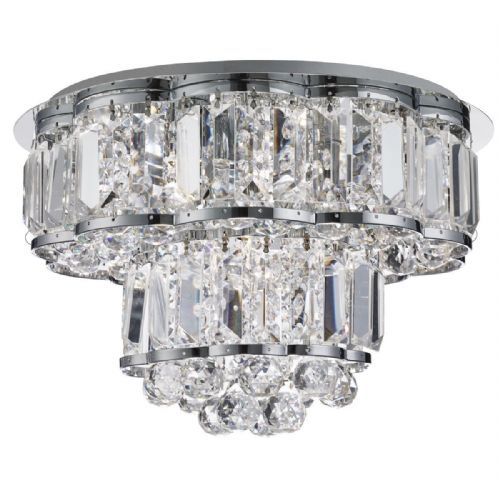 Hayley 4 Light Ceiling Flush, Chrome, Clearl Crystal Balls Drops 8374-4Cc
